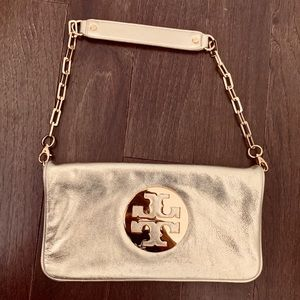 Tory Burch Gold Clutch with Removable Chain Strap